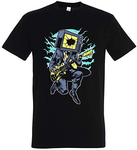 Dead Star Rock Kostüm - T-Shirt Herren/Damen Schwarz mit TV Rock Aufdruck (XXL, Schwarz)