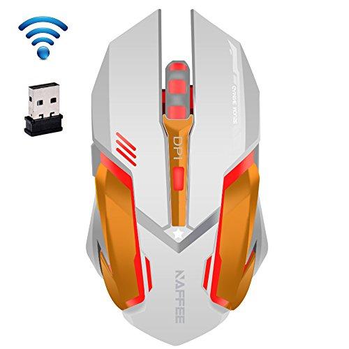 Preisvergleich Produktbild UrChoiceLtd® 2017 NAFFEE Stern 2.4GHz drahtloser 6D 2400DPI stummes 6 Knöpfe Usb-optische nachladbare Spiel-Maus für Laptop-Computer-Notizbuch-Tischspiel-... (weißes 2)