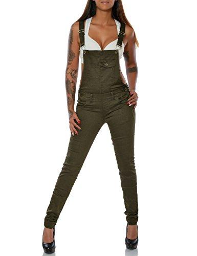 Damen Jeans Hose Latzjeans Latzhose Overall (Röhre weitere Farben) No 15752, Farbe:Khaki, Größe:XL / 42