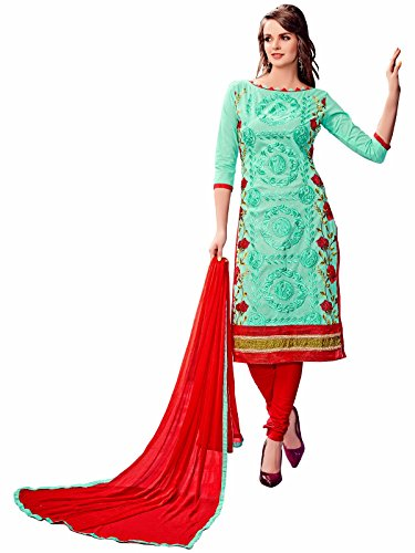 Nikki Fab Sea Green Cotton Embroidered Unstitched Partywear Dress Material.