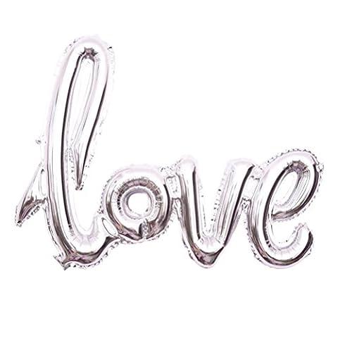 NUOLUX Folienballon Liebe Love Ballon Buchstabe Luftballon Romantische Dekoration (Silber)