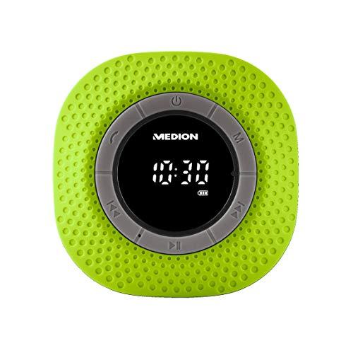 MEDION E66554 Duschradio mit Bluetooth, 20 Watt, PLL UKW, IPX7, eingebauter Akku, grün