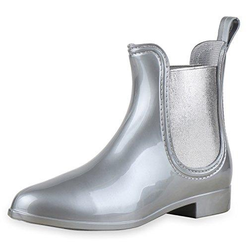 SCARPE VITA Damen Schuhe Stiefeletten Gummistiefel Glitzer Regenschuhe Lack Boots Kurzschaft-Stiefel Blockabsatz Booties Regenstiefel