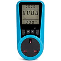 Decdeal LCD Display Electricity Usage Power Meter Socket Energy Watt Volt Amps Wattage KWH Consumption Analyzer Monitor Outlet AC230V~250V UK Plug