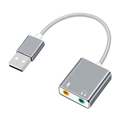 USB Audio Adapter Externe Stereo-Sound-Karte mit 3. 5 mm Kopfhörer und Mikrofon Jack, auswaur Virtual 7. 1 Sound Kanal für Windows, Mac, Linux, PC, Laptops, Desktops, PS4 (USB-Grau)