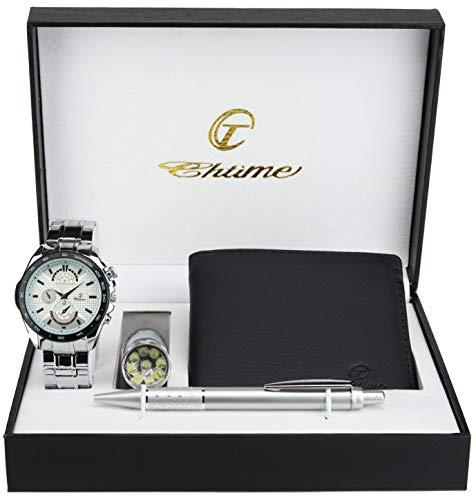 Cofanetto orologio uomo bianco- lampada led- portafoglio -penna