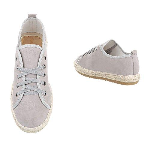 Ital-Design Sneakers Low Damenschuhe Sneakers Low Sneakers Schnürsenkel Freizeitschuhe Hellgrau B743S-BL