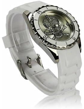 Damen Silikon Strass Armbanduhr Weiß Trend Gummi Uhr Quartz im Totenkopf Skull Design und Geschenkbox