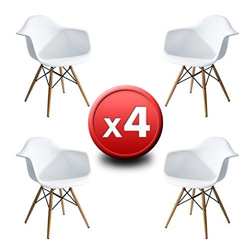 EUROSILLA Pack 4 chaises Design ST009 Blanches de en Chaise Design Eames DAW. QUALITÉ SUPÉRIEURE avec Pieds en Bois de hêtre et Type Wooden Arms Fauteuil en Plastique resistenta ABS Blanc.