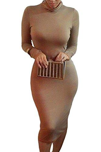 ALAIX Damen langärmeliges Taille schnürendes hochkragen schlanke geschnittenes Bodycon Midi Party Kleid Kaffeebraun-S (Pastellfarbene Abendkleider)