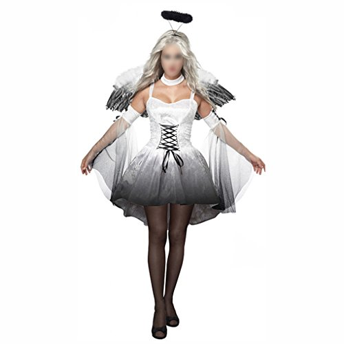Frauen Costums Halloween Für (Halloween Kostüme Frauen Engel mit Flügeln Stirnband Fancy Dress Demon Performance Cosplay Uniformen Outfits)