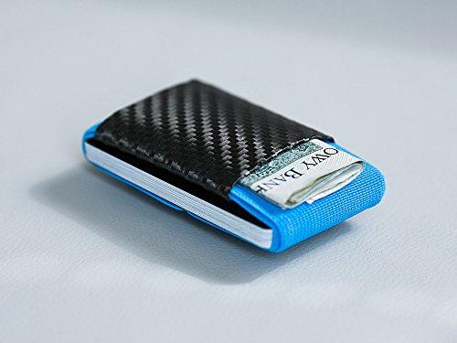 Elephant Wallet LR Carbon Mini Geldbörse Small Portemonnaie Kleines Portmonee Minimalisten Kartenhalter präsentiert von becoda24 in versch. Farben (Azure) Azure