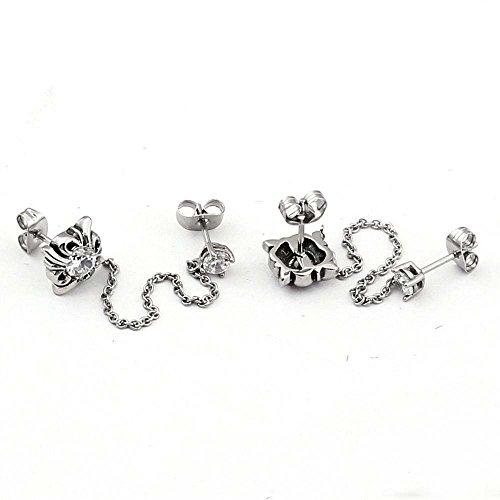 Daeou Damen Ohrringe Diamant Ohrringe Ohrring Ohrringe Lange Kette Titan Stahl Zirkon Mosaik Ohrring Ohrringe Anti-Allergie 9 mm * 9 mm -