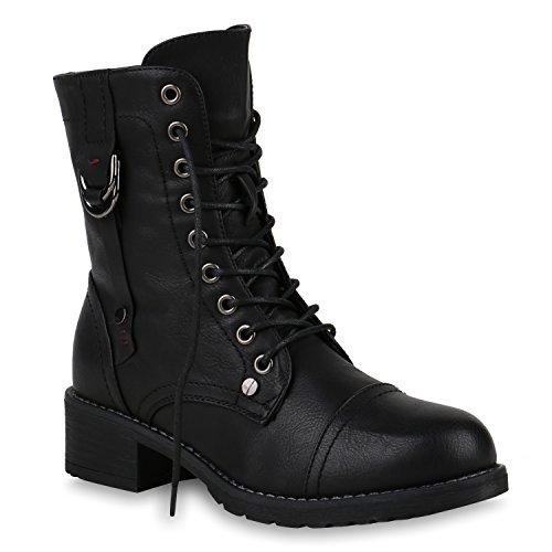 Damen Stiefeletten Gefütterte Schnürstiefeletten Schnallen Stiefel Schuhe 147452 Schwarz Nieten Avion 36 Flandell