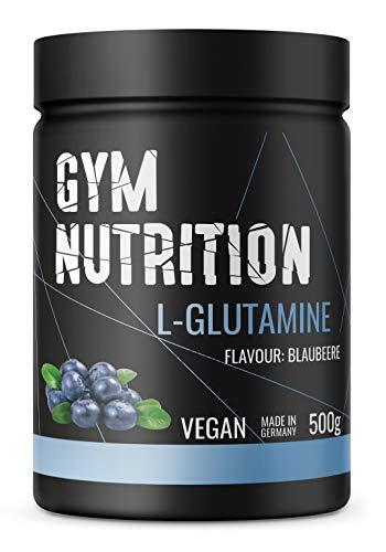 GYM-NUTRITION® - L-GLUTAMIN Ultrapure Pulver - extra hochdosiert & 99,5 {83eb150a5e5dca9f2c4ca05787e5ce849cc8704d3d318821aa2ee253a93eb2b3} rein - proteinogene Alpha-Aminosäure, vegan - ideal für Body-Builder - Made in Germany - 500-g, Geschmack: BLAUBEERE