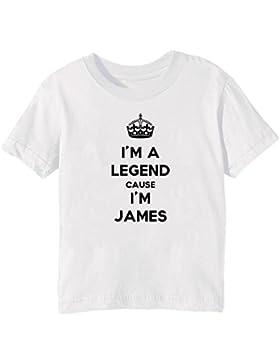 I'm A Legend Cause I'm James Bambini Unisex Ragazzi Ragazze T-Shirt Maglietta Bianco Maniche Corte Tutti Dimensioni...