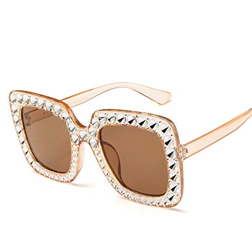 WWVAVA Sonnenbrillen Shining Diamond Sonnenbrille Frauen Markendesign Flash Square Shades Female Mirror Sonnenbrille, c2