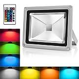 Warmoon 10W LED RGB Fluter Strahler Led Scheinwerfer außen Licht mit Fernbedienung IP65 Wasserdicht Led Außenleuchte mit EU Plug & Fernbedienung