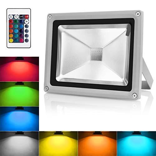 Warmoon 10W LED RGB Fluter Strahler Led Scheinwerfer außen Licht mit Fernbedienung IP65 Wasserdicht Led Außenleuchte mit EU Plug & Fernbedienung (10 W Led Rgb)