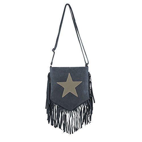 OBC Made in Italy Stern Tasche mit Fransen Wildleder Fransentasche Schultertasche Damentasche CrossOver Umhängetasche Sportliche (Taupe) Schwarz