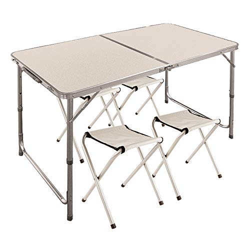 Aktive 52815 Mesa Plegable con sillas Sport, 120 x 60 x 70 cm, Blanca