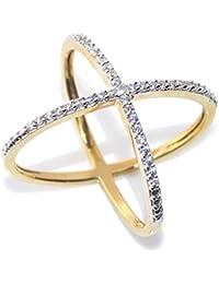 Zeneme Premium American Diamond Gold Plated Ring for Women