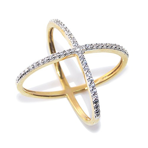 Zeneme Premium American Diamond Gold Plated Ring for Women