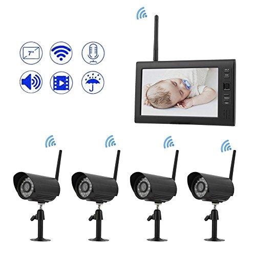 Security Tools Funk Überwachungssystem 4x Kamera 7 zoll Touch-Monitor mit Standfuß HD Videoüberwachungsanlage Drahtlos Überwachungsset Sicherheitssystem
