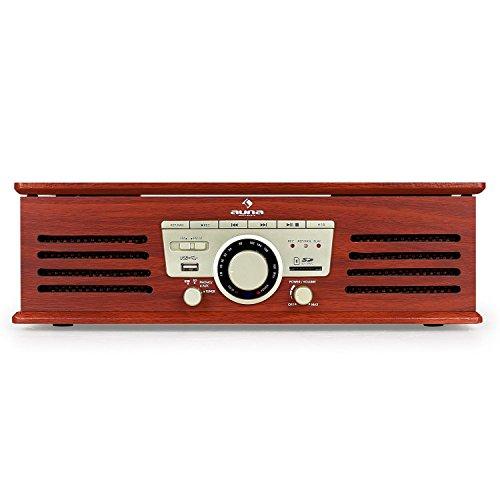 auna TT-92B Plattenspieler Schallplattenspieler (USB-SD-Slot, AUX-IN, UKW Radio, Stereo-Lautsprecher, Holzfurnier) braun - 3