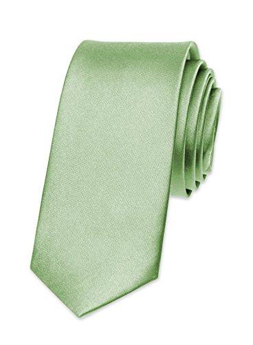 Autiga® Krawatte Herren Hochzeit Konfirmation Slim Tie Retro Business Schlips schmal hellgrün - Slim-krawatte Tie