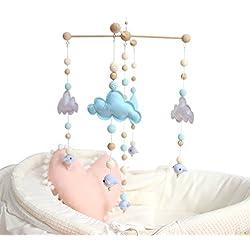 baby tete Baby Crib Mobile Bed Bell Rattle Toys Cuna Blanca y Azul de la Nube Tienda Móvil de Carillones de Viento de Madera Colgante Decoración del Hogar