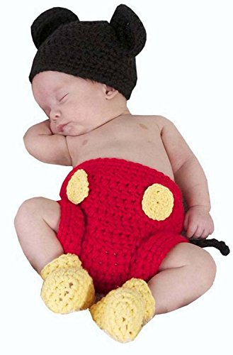 DAYAN Mädchen Jungen Maus Mitch Hut Windel Schuhe Fotografie Prop Crochet häkeln Strickmütze passen 0-6 Monat