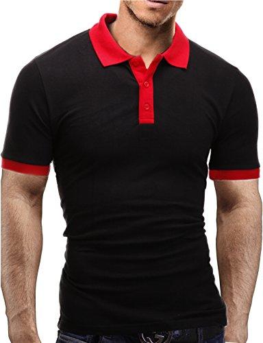 Merish Herren Poloshirt Polo Hemd Kurzarm Shirt Polohemd T-Shirt Shirt 1025 Schwarz-Rot L (Diesel-baumwoll-polo-shirt)