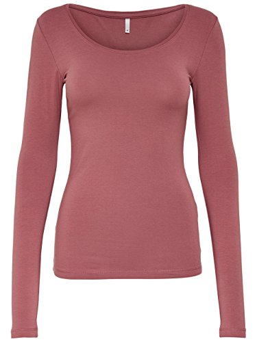 ONLY Damen Langarmshirt 15060054/Live Love Long O-Neck LS Top RPT Withered Rose