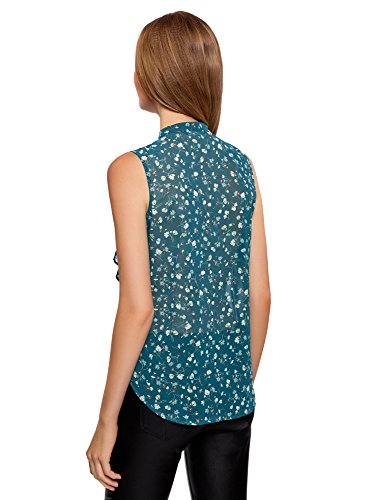 oodji Collection Damen Ärmellose Bluse Aus Fließendem Stoff mit Volants Grün (7430F)