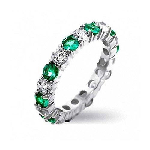 t Monat Farbe Stapelbarer Ewigkeit Cz Ebnen Zirkonia Abschlussballise Ring Für Damen Silber 3Mm ()