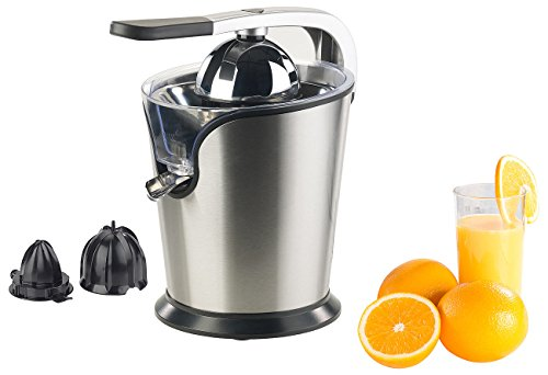 Rosenstein & Söhne Citruspresse: Elektrische Edelstahl-Zitruspresse, 2 Aufsätze, Saftbehälter, 160 Watt (Zitruspresse automatisch)