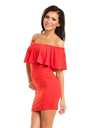Frauen Rüschen Rüschen weg von der Schulter Bardot Stil Stretch Stretchy Bodycon Kurzschluss -Abend-Minikleid Red