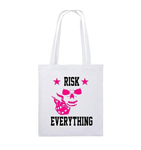 Comedy Bags - Risk everything - Jutebeutel - lange Henkel - 38x42cm - Farbe: Schwarz / Weiss-Pink Weiss / Schwarz-Pink