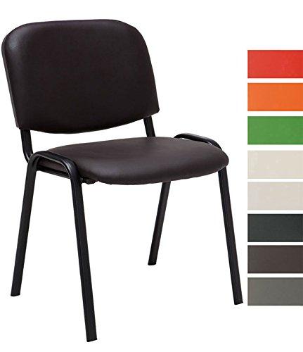 CLP Besucherstuhl KEN mit hochwertiger Polsterung und Kunstlederbezug | Stapelstuhl mit robustem Metallgestell und gepolsterter Rückenlehne | Maximale Belastbarkeit: 120 kg Braun