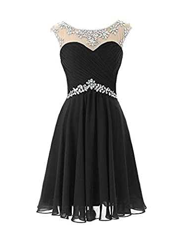 KekeHouse®A-line Bridesmaid Wedding Party Dress Mother and Daughter Short Sleeveless Dress Sweetheart Flower Girl Chiffon Beaded Prom Dress Black Age 12