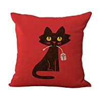 """Eazyhurry Black Cat Print Linen Decorative Throw Cushion Cover Office Chair Seat Back Cushion Decorative Pillow Case Red 18"""" X 18"""""""