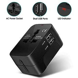 Adoric Universal Reiseadapter - Stromadapter Stecker für Europa UK Australien USA China - Universeller Weltreise Reisestecker (SCHWARZ)