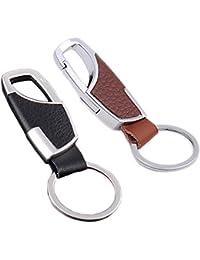iSuperb® 2Pcs Porte-clés en Cuir PU Porte-clés Ceinture Clip Personnalisé pour Hommes Lui 8.6x2.2x0.8cm
