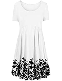QUINTRA Women O-Neck Short Sleeve Printing Large Size Dress S - 2XL Black White Dark Blue Beige