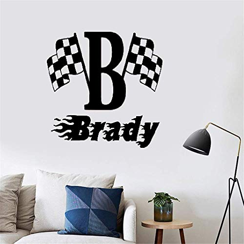 Wandtattoo Wohnzimmer Jungen Name Checkered Flag Racing Monogramm Kinderzimmer Schlafzimmer Dekor