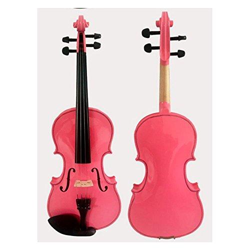 Massivholz-Violine, Geige aus Ahorn und Fichte mit Kasten & Kolofonium, Musikinstrument, mehrere Größen, rosa 1/4 rose