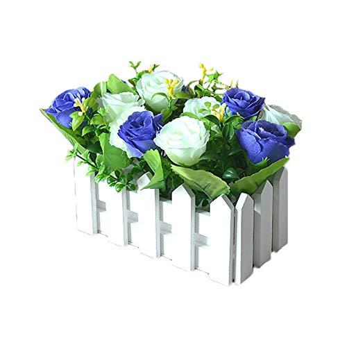 Skareop Künstliche Topfpflanze Holzzaun simulieren Hibiscus Mutabilis Blumen subtile Geschenke Dekor Ornament für Wohnzimmer Dinning Tisch Hochzeit - Topfpflanze Hibiscus