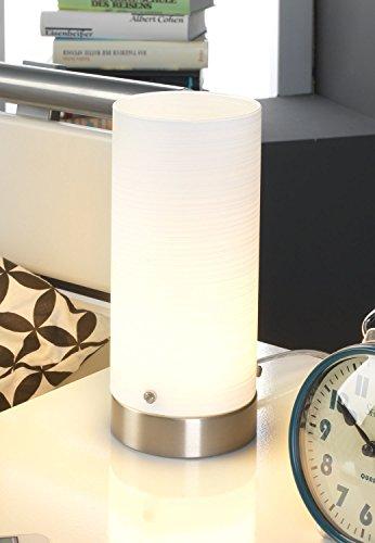 LED-Nachttischlampe Tischleuchte Tischlampe LIST II   Nickel   Glas   Silber-Weiß   mit Leuchtmittel