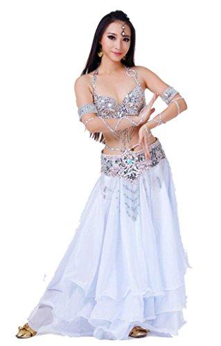 JYR Dame Bauch Tanz Kostüm Set Sexy BH Waistband Ärmel Und Rock Mit Perlen Und Sequin Troddel Dekoriert - (Kostüm Bh Tanz Sport Für)